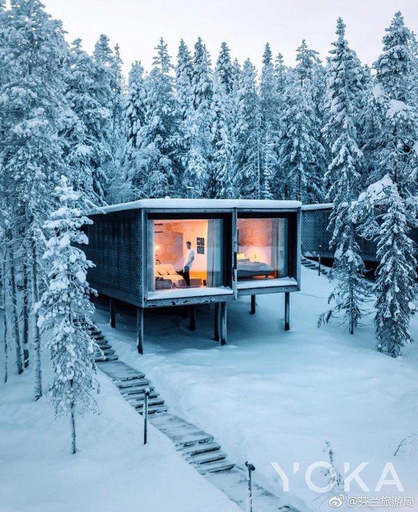芬兰的树屋  图片来自微博@芬兰旅游局