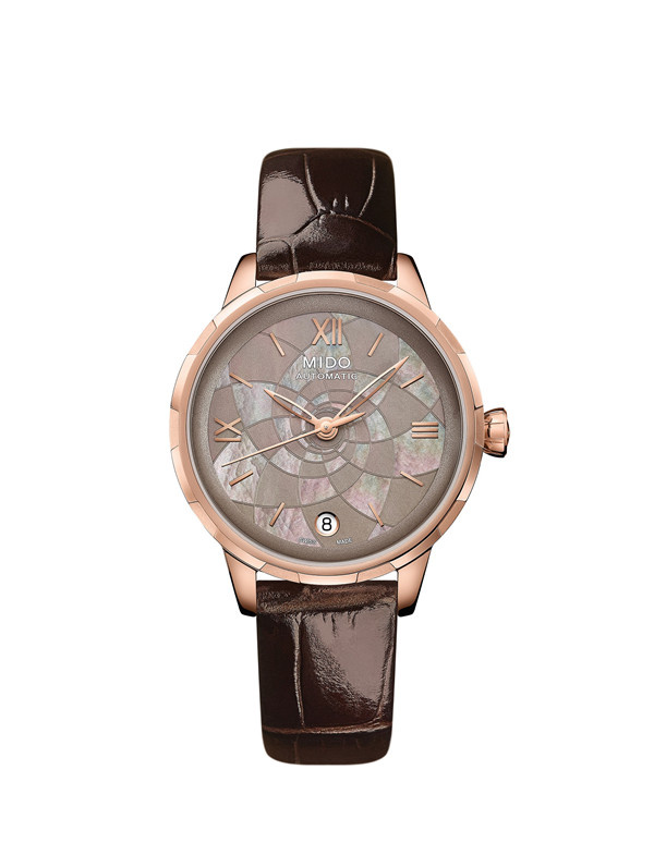 瑞士美度表RAINFLOWER花淅系列焦糖棕款长动能珍珠贝母女士腕表 (图片来源于品牌)