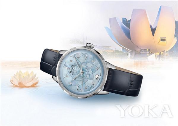 瑞士美度表RAINFLOWER花淅系列水湖蓝款长动能珍珠贝母女士腕表(图片来源于品牌)