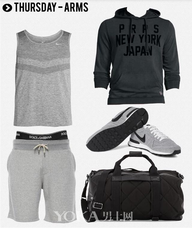 运动帽衫 PRPS; 速干无袖运动衫 Nike Running; 系带运动短裤 Rag&Bone; 内衣 Dolce&Gabbana; 运动鞋 Nike; 健身包 Moncler。